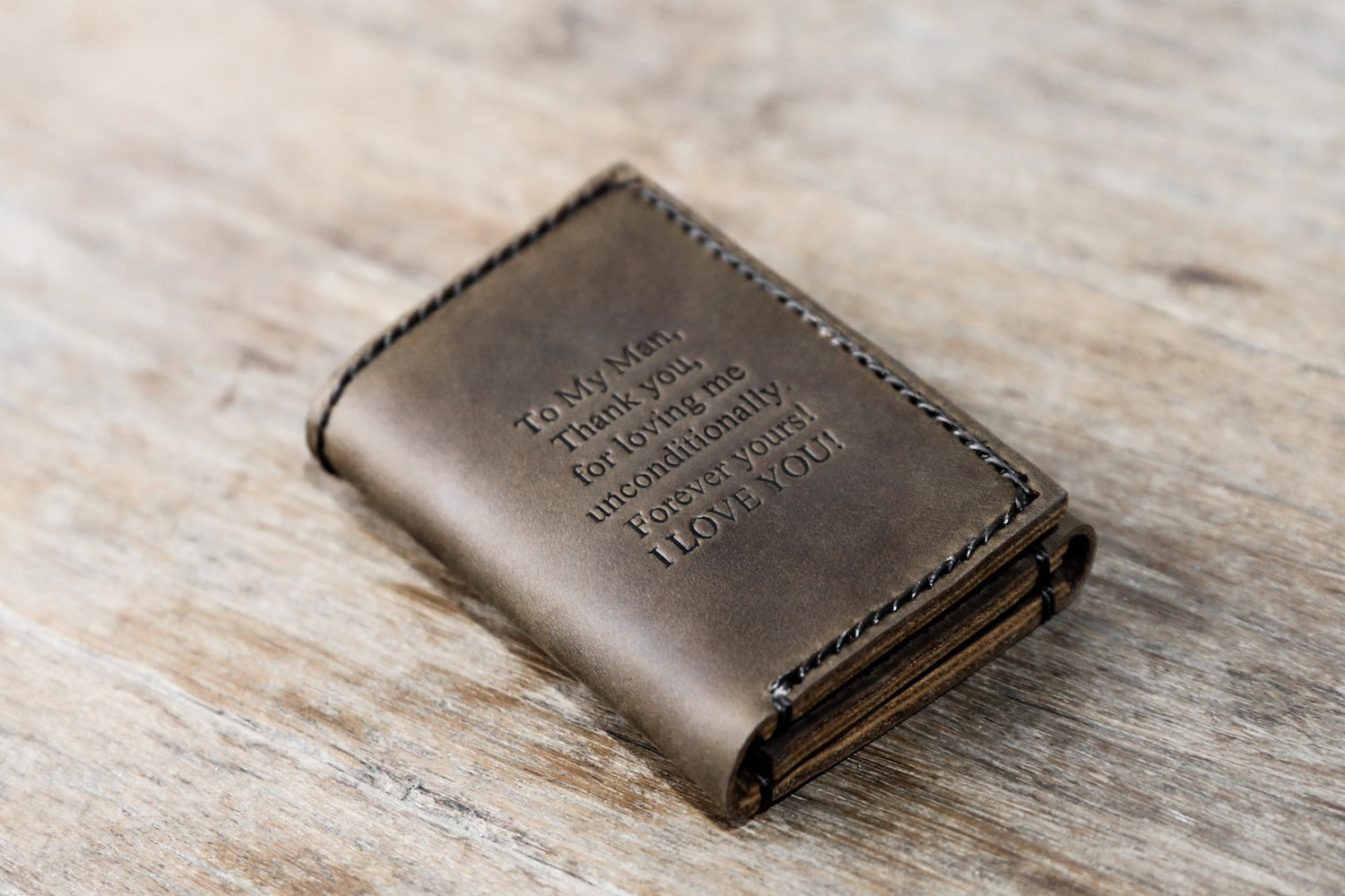 Personalized Leather Trifold Wallet with Quote