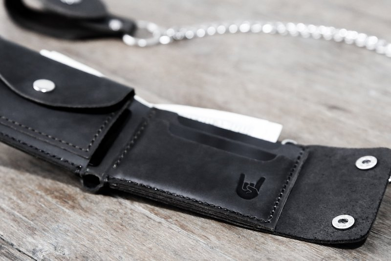 biker coin wallet without the chain - dark distressed leather