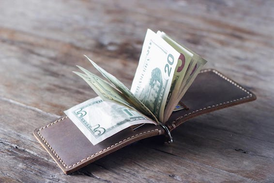 handmade leather money clip wallet