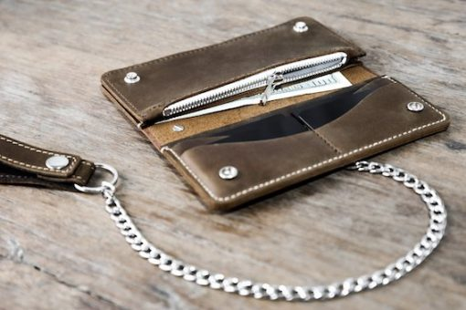 leather biker wallet silver chain