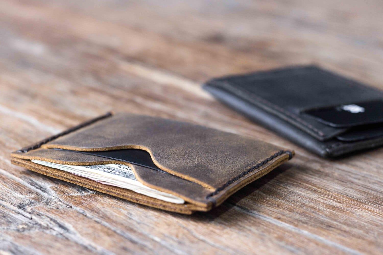 leather minimalist wallet Etsy
