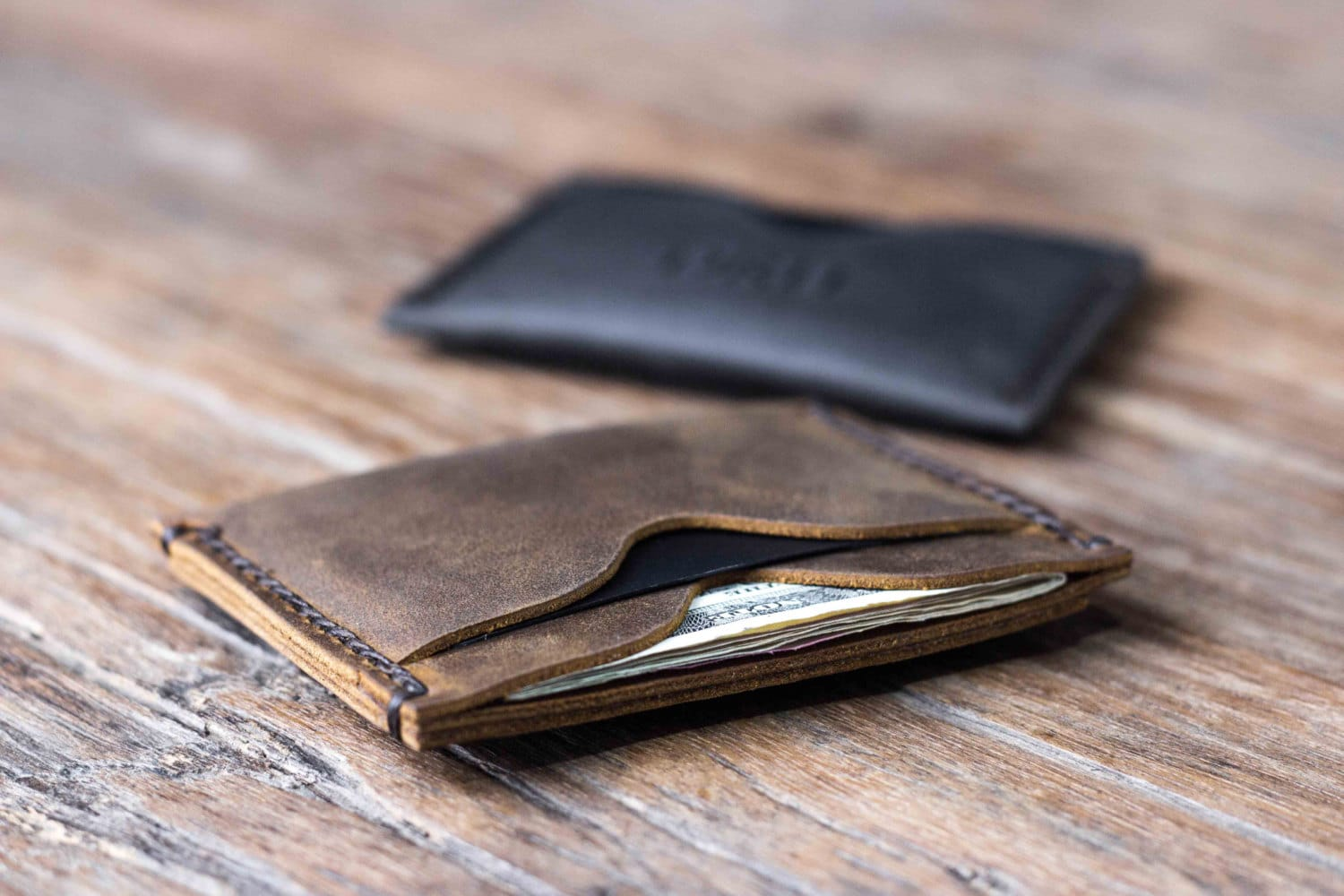 leather minimalist wallet personalized