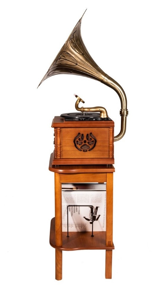 MJI GRAMOPHONE CLASSIC BRONZE HORN TURNTABLE STAND TABLE