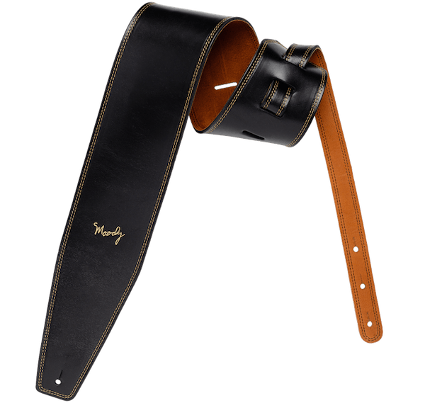4.0 LEATHER BACKED GUITAR STRAP - BLACK:TOBACCO