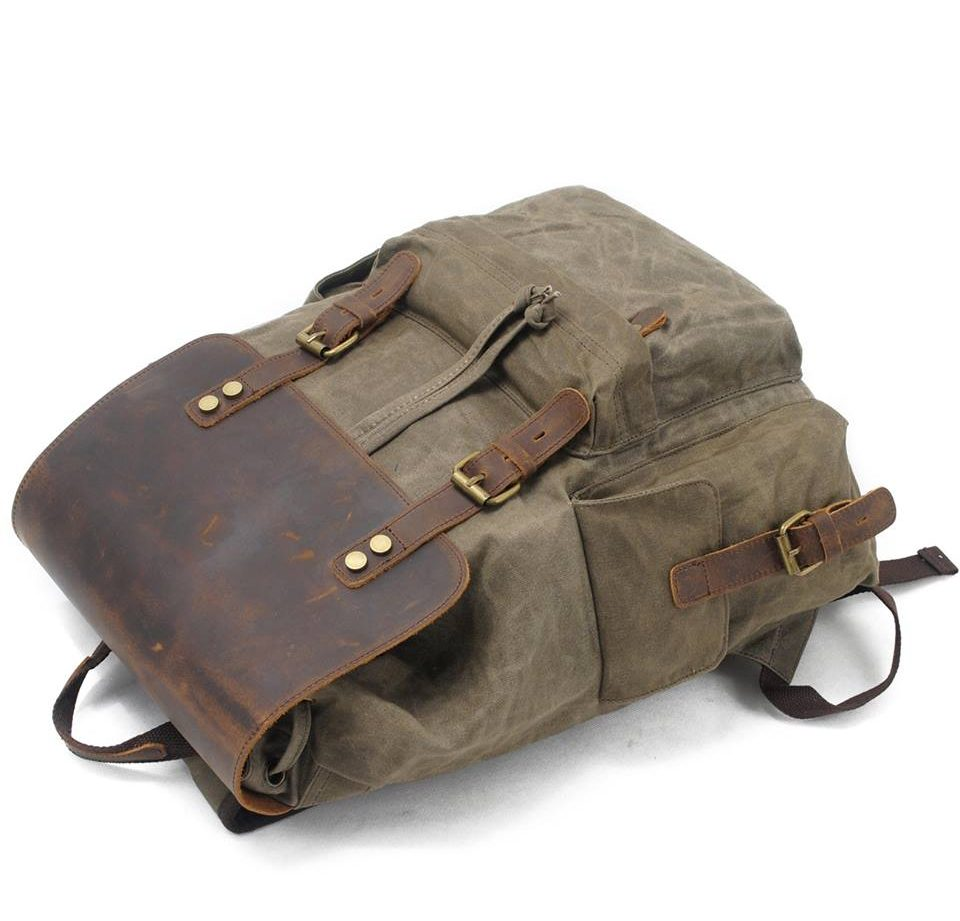 SUVOM Vintage Canvas Leather Laptop Backpack