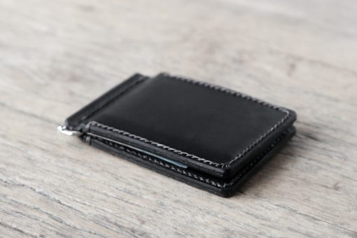 Black Leather Money Clip Wallet