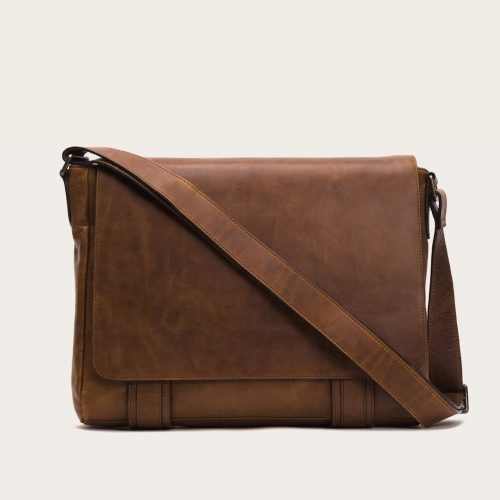 Frye Cognac Rugged leather Logan Messenger Bags