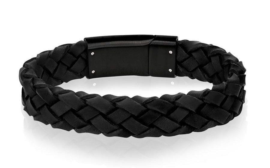 The Steel Shop Black on Black Braided Italian Leather Bracelet