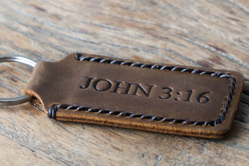 biblical gift idea - leather keychain
