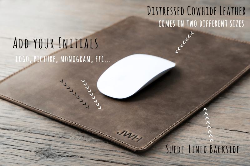 handmade leather mousepad