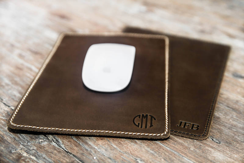 leather mouse pad with circle monogram