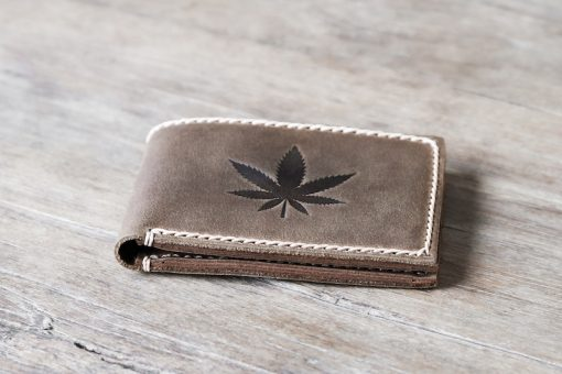 Pot Leaf Leather Wallet